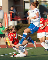 Boston Breakers forward Katie Schoepfer (2) focused on first of three scores as Western New York defender Alex Sahlen (2) blocking effort is late. In a Women's Premier Soccer League Elite (WPSL) match, the Boston Breakers defeated Western New York Flash, 3-2, at Dilboy Stadium on May 26, 2012.