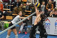 Black and White Company LENDELEDE - Volley Saturnus Michelbeke :<br /> aanval van Nymphe Verrelst (L) op het blok van Michelbeke<br /> <br /> Foto VDB / Bart Vandenbroucke