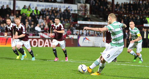 30.11.2014.  Edinburgh, Scotland. Scottish Cup.  Hearts versus Celtic. John Guidetti scores a penalty for Celtic to make it 2-0