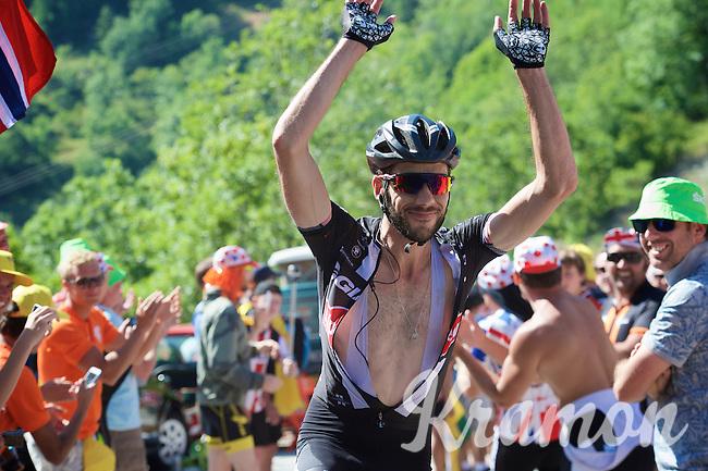 Roy Curvers (NLD/Giant-Alpecin) embracing the craziness at the Dutch Corner (nr7) up Alpe d'Huez<br /> <br /> stage 20: Modane Valfréjus - Alpe d'Huez (111km)<br /> 2015 Tour de France