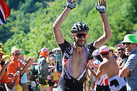 Roy Curvers (NLD/Giant-Alpecin) embracing the craziness at the Dutch Corner (nr7) up Alpe d'Huez<br /> <br /> stage 20: Modane Valfréjus - Alpe d'Huez (111km)<br /> 2015 Tour de France