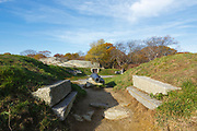 Stage Fort Park in Gloucester, Massachusetts in the United States on an autumn day. This park is the site of Gloucester's first settlers in 1623.