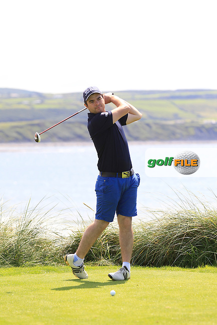 Kelan McDonagh (The Royal Dublin) on the 7th tee during Round 1 of The South of Ireland in Lahinch Golf Club on Saturday 26th July 2014.<br /> Picture:  Thos Caffrey / www.golffile.ie
