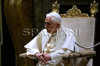 Pope Benedict XVI greets Rome mayor and during a private meeting at the Clementine VI Hall at the Vatican :10.01.2008.