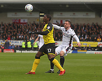 Bolton Wanderers Andrew Taylor battles with  Burton Albion's Marven Sordell<br /> <br /> Photographer Mick Walker/CameraSport<br /> <br /> The EFL Sky Bet Championship - Burton Albion v Bolton Wanderers - Saturday 28th April 2018 - Pirelli Stadium - Burton upon Trent<br /> <br /> World Copyright &copy; 2018 CameraSport. All rights reserved. 43 Linden Ave. Countesthorpe. Leicester. England. LE8 5PG - Tel: +44 (0) 116 277 4147 - admin@camerasport.com - www.camerasport.com