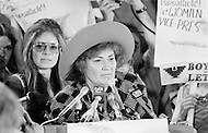 July 1972, Miami, Florida, USA. Bella Abzug (C) speaking at the 1972 Miami Democratic National Convention. The journalist and American feminist and spokeswoman for women's rights, Gloria Steinem (L background) is also present. Image by © JP Laffont