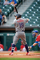 Lehigh Valley IronPigs designated hitter Trevor Plouffe (19) at bat in front of catcher Danny Jansen (9) during a game against the Buffalo Bisons on June 23, 2018 at Coca-Cola Field in Buffalo, New York.  Lehigh Valley defeated Buffalo 4-1.  (Mike Janes/Four Seam Images)