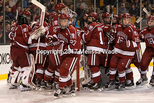 Viktor Dombrovskiy (Harvard - 27) - The Harvard University Crimson defeated the Boston University Terriers 6-3 (EN) to win the 2017 Beanpot on Monday, February 13, 2017, at TD Garden in Boston, Massachusetts.