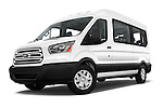 Stock pictures of low aggressive front three quarter view of 2016 Ford Transit 350-XLT-Med-Roof 4 Door Passenger Van Low Aggressive