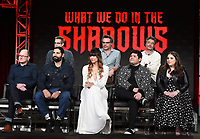 PASADENA, CA - FEBRUARY 4:  (L-R Top Row) EP/Showrunner/Writer Paul Simms, Creator/EP/Showrunner/Writer/Director Jemaine Clement, EP/Director Taika Waititi, (L-R Bottom Row) Cast Members Mark Proksch, Kayvan Novak, Natasia Demetriou, Harvey Gullen, and Beanie Feldstein during the WHAT WE DO IN THE SHADOWS panel for the 2019 FX Networks Television Critics Association Winter Press Tour at The Langham Huntington Hotel on February 4, 2019 in Pasadena, California. (Photo by Frank Micelotta/FX/PictureGroup)