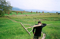 ROMANIA / Maramures / Budesti / September 2006 ..Ion, 16, on his way home from the fields...© Davin Ellicson / Anzenberger