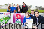 Ciara Browne, Brian Looney AIB and Darragh Fleming, launching the St Brendan's College 5km in aid of the Killarney Micro Track which will be held on the Wednesday 22nd April back l-r: Leona Browne, Clodagh Kearney, Bobby O'Dwyer AIB Killarney, Con Lynch Spa/Muckross