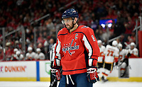 WASHINGTON, DC - NOVEMBER 03: Capitals left wing Alexander Alex Ovechkin (8) glares before a face-off during the Calgary Flames vs. Washington Capitals on November 3, 2019 at Capital One Arena in Washington, D.C.. (Photo by Randy Litzinger/Icon Sportswire)