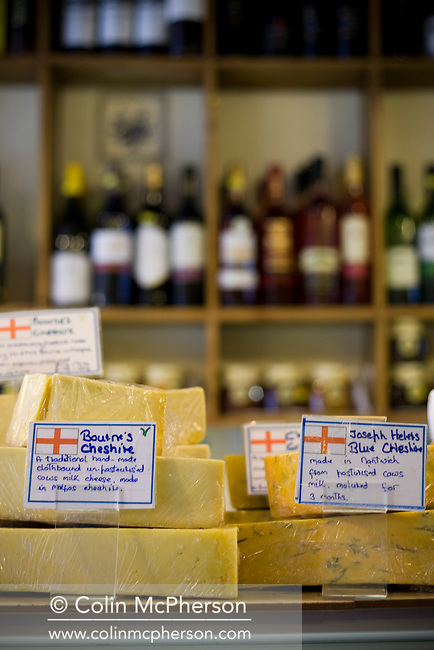 An interior view of The Cheese Shop in Northgate Street, Chester, photographed as part of the Cheshire Food Trail. The shop was established a quarter of a century ago by Carole Faulkner and stocks many local Cheshire cheeses.