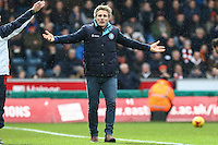 Gareth Ainsworth (Manager) of Wycombe Wanderers shows his frustration during the Sky Bet League 2 match between Wycombe Wanderers and Luton Town at Adams Park, High Wycombe, England on 6 February 2016. Photo by David Horn.