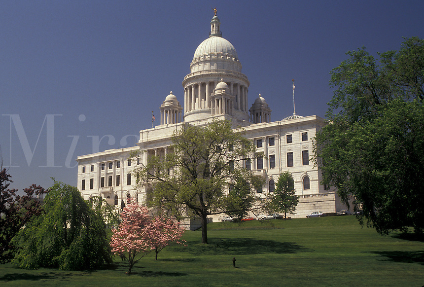 AJ3510, State House, State Capitol, Providence, Rhode Island, The State House in the capital city of Providence in the spring in the state of Rhode Island.