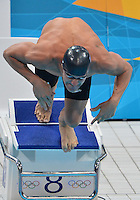 July 29, 2012..Brendan Hansen of USA pushes off the starting block to  compete in men's 100m Breaststroke final at the Aquatics Center on day two of 2012 Olympic Games in London, United Kingdom.