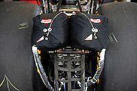 Mar. 9, 2012; Gainesville, FL, USA; Detailed view of the parachutes on the car of NHRA top fuel dragster driver T.J. Zizzo during qualifying for the Gatornationals at Auto Plus Raceway at Gainesville. Mandatory Credit: Mark J. Rebilas-