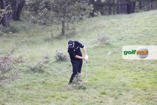 Shane Lowry (IRL) in the rough on the 1st during Round 4 of the KLM Open at Kennemer Golf &amp; Country Club on Sunday 14th September 2014.<br /> Picture:  Thos Caffrey / www.golffile.ie