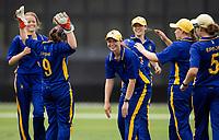 Epsom Girls Grammar School players celebrate a wicket, Venus Cup Finals, Hagley Park, Christchurch, New Zealand. 8th December 2019. Photo: Joseph Johnson, www.bwmedia.co.nz