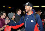 Feb 28, 2015; Spokane, WA, USA; Gonzaga Bulldogs guard Byron Wesley high fives crowd members after returning home from a game against the Duke Blue Devils at the McCarthey Athletic Center. Mandatory Credit: James Snook-USA TODAY Sports