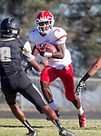 Palos Verdes, CA 10/24/14 - Dallas Branch (Redondo Union #7)in action during the Redondo Union - Palos Verdes Peninsula CIF Varsity football game at Peninsula High School.