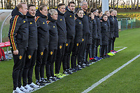 20191204 - TUBEKE , BELGIUM : Belgian staff ( Coach Thomas Jansen , Assistent coach Julie Grégoire , Assistent coach Lenie Onzia , Goalkeeper coach Wouter Vandesteene , Physical coach Gil Benedetti , Team manager Bram Demeur , Doctor Luk Buyse , Physio Isabelle Seyler ) pictured before the international friendly female soccer game between the Belgian Flames U15 and Germany , Wednesday 4 th December 2019 at the Belgian Football Centre, Tubeke / Tubize , Belgium. PHOTO SPORTPIX.BE | STIJN AUDOOREN