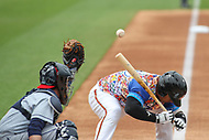 Bowie, MD - May 21, 2017: Bowie Baysox catcher Yermin Mercedes (1) ducks from being hit by the pitch during the MiLB game between Binghamton and Bowie at  Baysox Stadium in Bowie, MD.  (Photo by Elliott Brown/Media Images International)