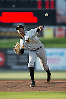 West Virginia Power starting pitcher Oddy Nunez (47) delivers a pitch to the plate against the Kannapolis Intimidators at Kannapolis Intimidators Stadium on July 19, 2017 in Kannapolis, North Carolina.  The Power defeated the Intimidators 7-4 in 11 innings.  (Brian Westerholt/Four Seam Images)