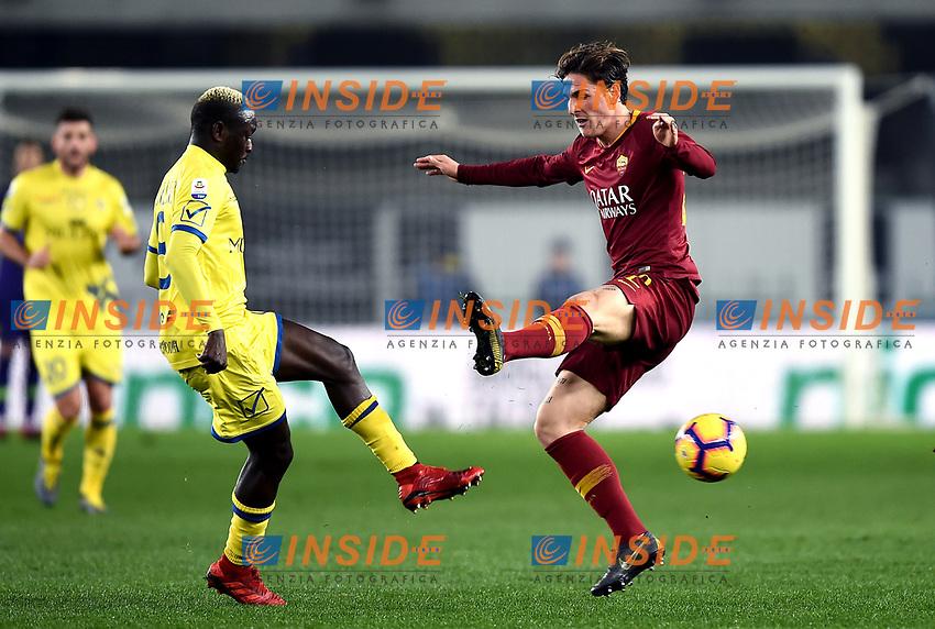 Assane Diousse of Chievo, Nicolo Zaniolo of AS Roma <br /> Verona 8-2-2019 Stadio Bentegodi Football Serie A 2018/2019 Chievo Verona - AS Roma <br /> Foto Image Sport / Insidefoto