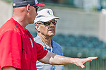 20 March 2015: Former baseball manager and player Joe Torre watches batting practice and chats with Washington Nationals Manager Matt Williams prior to a Spring Training game between the Washington Nationals and the Houston Astros at Osceola County Stadium in Kissimmee, Florida. The Nationals defeated the Astros 7-5 in Grapefruit League play. Mandatory Credit: Ed Wolfstein Photo *** RAW (NEF) Image File Available ***