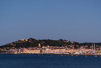City skyline at dusk, Sant Tropez, France.