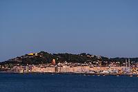City skyline at dusk, Sant Tropez, France.