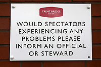 Problems signage during Nottinghamshire CCC vs Essex CCC, Specsavers County Championship Division 1 Cricket at Trent Bridge on 13th September 2018