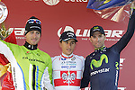 Michal Kwiatkowski (POL) Omega Pharma-Quick Step wins with Peter Sagan (SVK) Cannondale 2nd and Alejandro Valverde (ESP) Movistar 3rd place on Il Campo in Siena at the end of the 2014 Strade Bianche race over the white dusty gravel roads of Tuscany, Italy. 8th March 2014.<br /> Picture: Eoin Clarke www.newsfile.ie