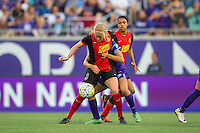 Orlando, Florida - Sunday, May 14, 2016: Western New York Flash forward Makenzy Doniak (3) protects the ball during a National Women's Soccer League match between Orlando Pride and New York Flash at Camping World Stadium.