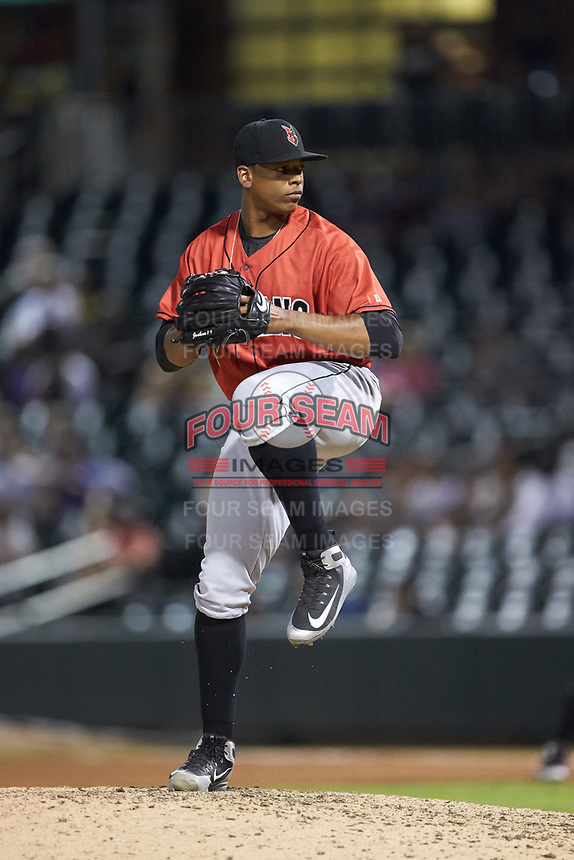 Indianapolis Indians relief pitcher Jesus Liranzo (48) in action against the Charlotte Knights at BB&T BallPark on May 26, 2018 in Charlotte, North Carolina. The Indians defeated the Knights 6-2.  (Brian Westerholt/Four Seam Images)