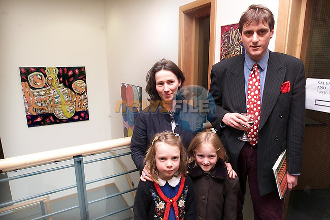 Patrick Conyngham at his Art Exhibition in Duleek with his wife Siobhan, daughter Lily and Iseult Law..Picture Paul Mohan Newsfile
