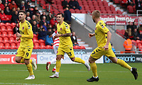 Fleetwood Town's Ched Evans celebrates scoring his side's first goal <br /> <br /> Photographer David Shipman/CameraSport<br /> <br /> The EFL Sky Bet League One - Doncaster Rovers v Fleetwood Town - Saturday 6th October 2018 - Keepmoat Stadium - Doncaster<br /> <br /> World Copyright © 2018 CameraSport. All rights reserved. 43 Linden Ave. Countesthorpe. Leicester. England. LE8 5PG - Tel: +44 (0) 116 277 4147 - admin@camerasport.com - www.camerasport.com