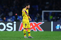 25th February 2020; Stadio San Paolo, Naples, Campania, Italy; UEFA Champions League Football, Napoli versus Barcelona; Lionel Messi of Barcelona gestures to team mates