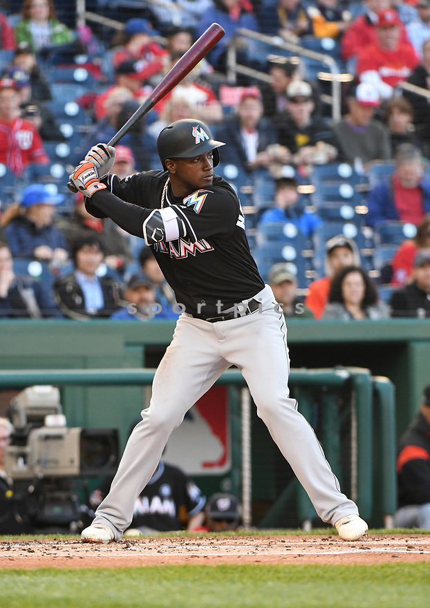 WASHINGTON, DC - April 6, 2017: Adeiny Hechavarria #3 of the Miami Marlins during a game against the Washington Nationals on April 6, 2017 at Nationals Park in Washington DC. The Marlins beat the Nationals 4-3.-(Chris Bernacchi/SportPics)