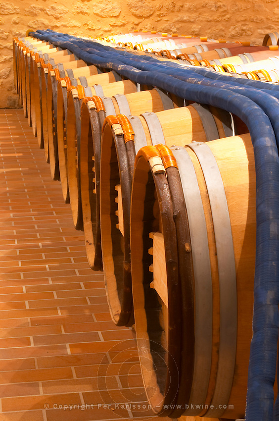 in the wine cellar: Barriques barrels and pipes to pump the wine  - Chateau Grand Mayne, Saint Emilion, Bordeaux