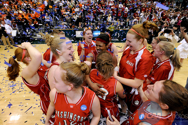 20 MAR 2010:  Washington University in St. Louis celebrates their win over Hope College during the Division III Women's Basketball Championship held at the Shirk Center on the Illinois Wesleyan University campus in Bloomington, IL.  Washington defeated Hope 65-59 for the national title.  Brett Wilhelm/ NCAA Photos