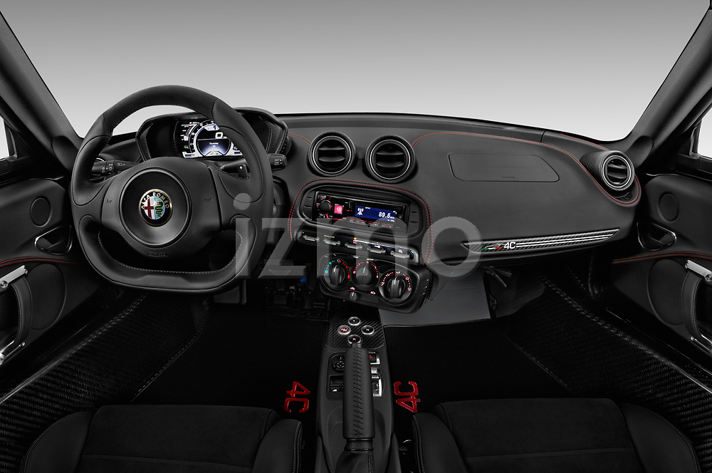 Stock photo of straight dashboard view of 2016-2017 Alfa Romeo 4C Base 2 Door Coupe