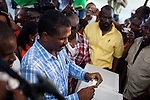 Haitian presidential candidate Jude Celestin casts his ballot on November 28, 2010 in Port-au-Prince, Haiti.