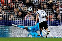 5th November 2019; Mestalla, Valencia, Spain; UEFA Champions League Football, Valencia versus Lille; Dani Parejo of Valencia CF scores the penalty Panenka style (1-1) minute 66' - Editorial Use