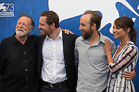 Jack Thompson, Michael Fassbender, director Derek Cianfrance and Alicia Vikander attend at the photocall for The Light Between Oceans at the 2016 Venice Film Festival.<br /> September 1, 2016  Venice, Italy<br /> Picture: Kristina Afanasyeva / Featureflash