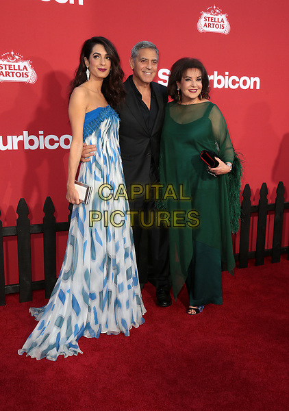 WESTWWOD, CA - October 22: George Clooney, Amal Clooney, Baria Alamuddin, At The Premiere Of Paramount Pictures' 'Suburbicon' At the Village Theatre California on October 22, 2017. <br /> CAP/MPI/FS<br /> &copy;FS/MPI/Capital Pictures
