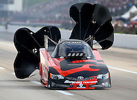 Apr 26, 2014; Baytown, TX, USA; NHRA funny car driver Cruz Pedregon during qualifying for the Spring Nationals at Royal Purple Raceway. Mandatory Credit: Mark J. Rebilas-