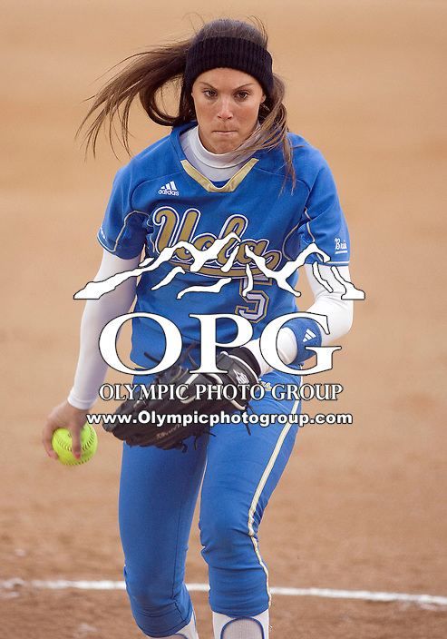 1 April 2010:  UCLA starting pitcher Donna Kerr fires the ball to the plate against Washington. UCLA defeated Washington 1-0 at Husky Softball Stadium in Seattle, WA.